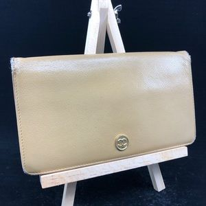 CHANEL CC BUTTON BEIGE LEATHER BIFOLD WALLET